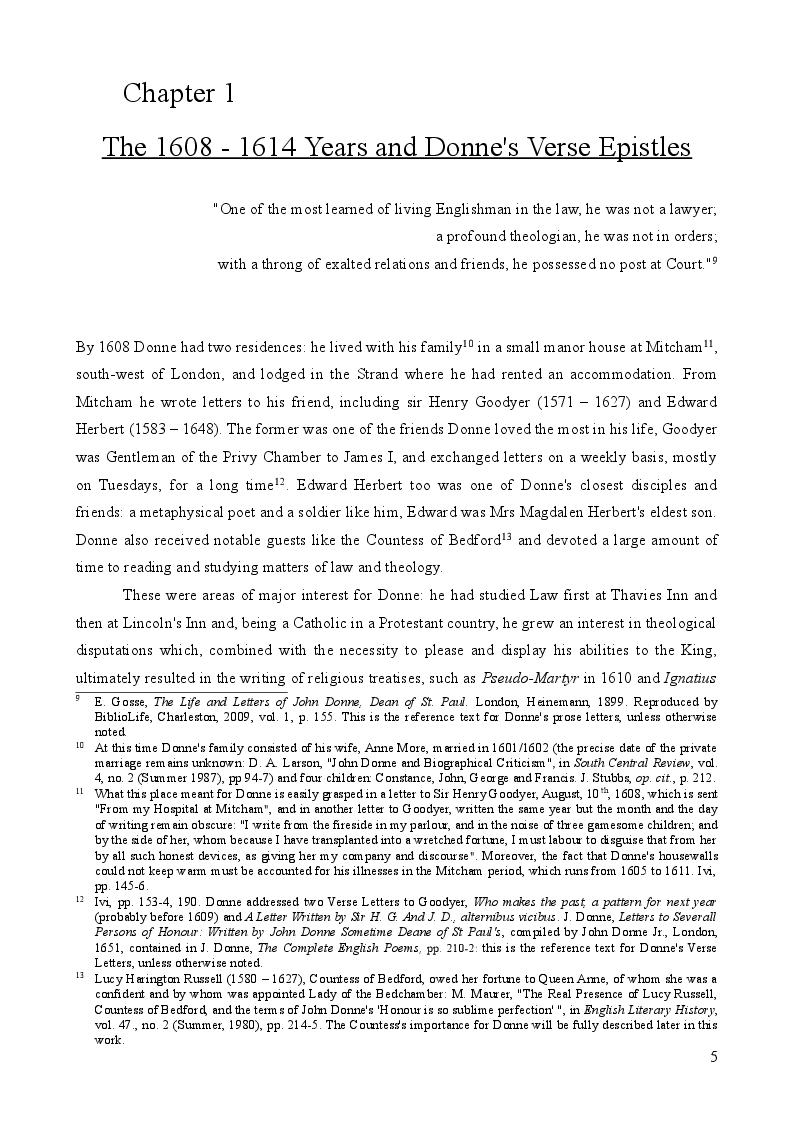 Anteprima della tesi: John Donne's Verse Epistles, Pagina 4
