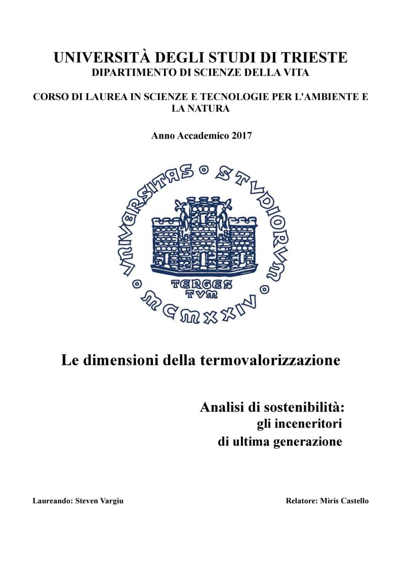 Anteprima della tesi: Le Dimensioni della Termovalorizzazione, Pagina 1