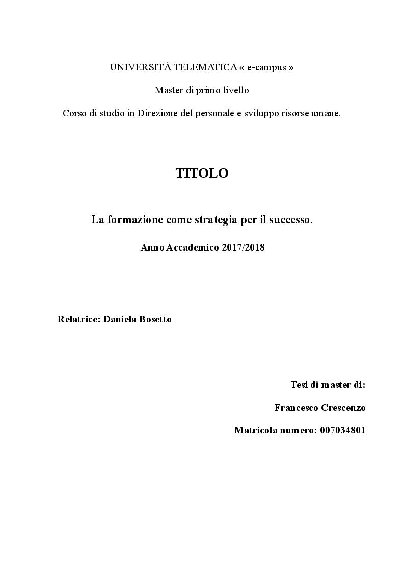 Anteprima della tesi: La formazione come strategia per il successo, Pagina 1