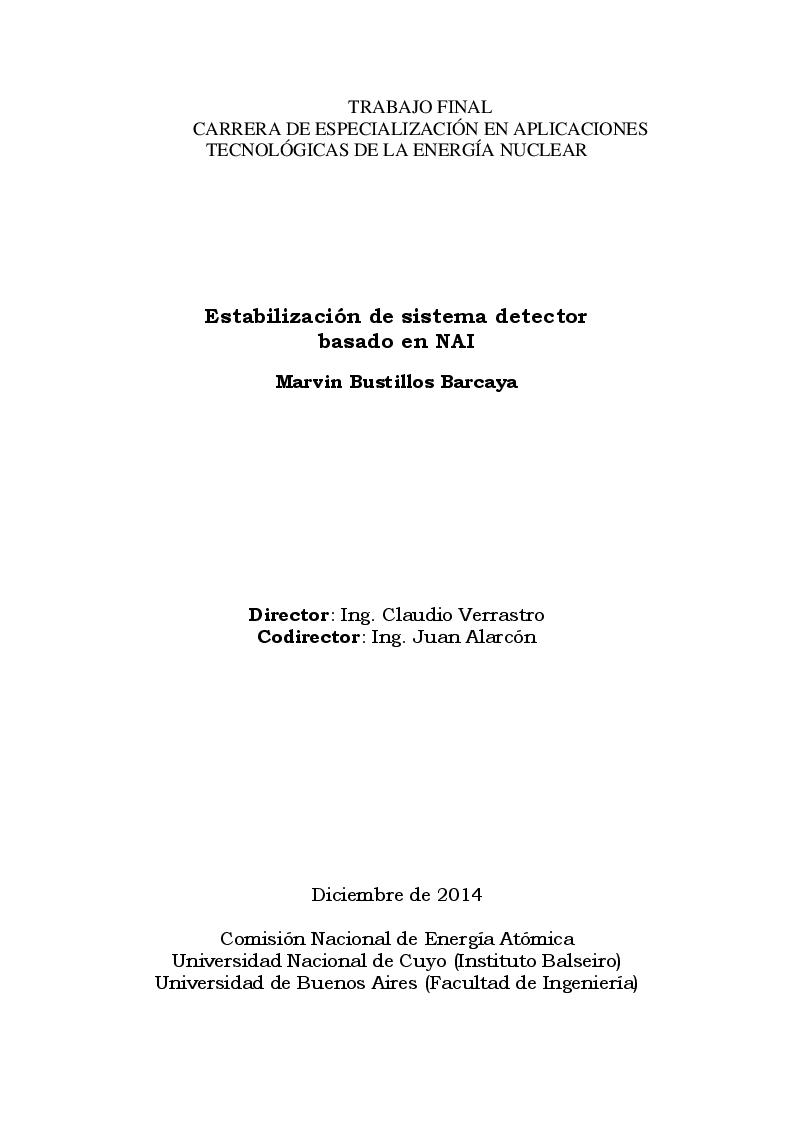Anteprima della tesi: Estabilización de sistema detector basado en NAI, Pagina 1