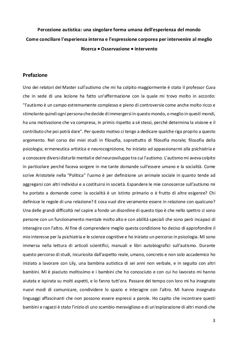 Anteprima della tesi: Sensorialità autistica: una singolare esperienza del mondo. Comprendere il profilo di funzionamento sensoriale per progettare l'iter psicoeducativo, Pagina 2