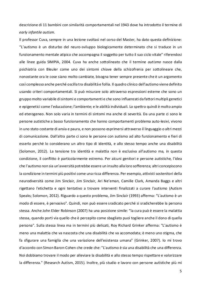 Anteprima della tesi: Sensorialità autistica: una singolare esperienza del mondo. Comprendere il profilo di funzionamento sensoriale per progettare l'iter psicoeducativo, Pagina 4