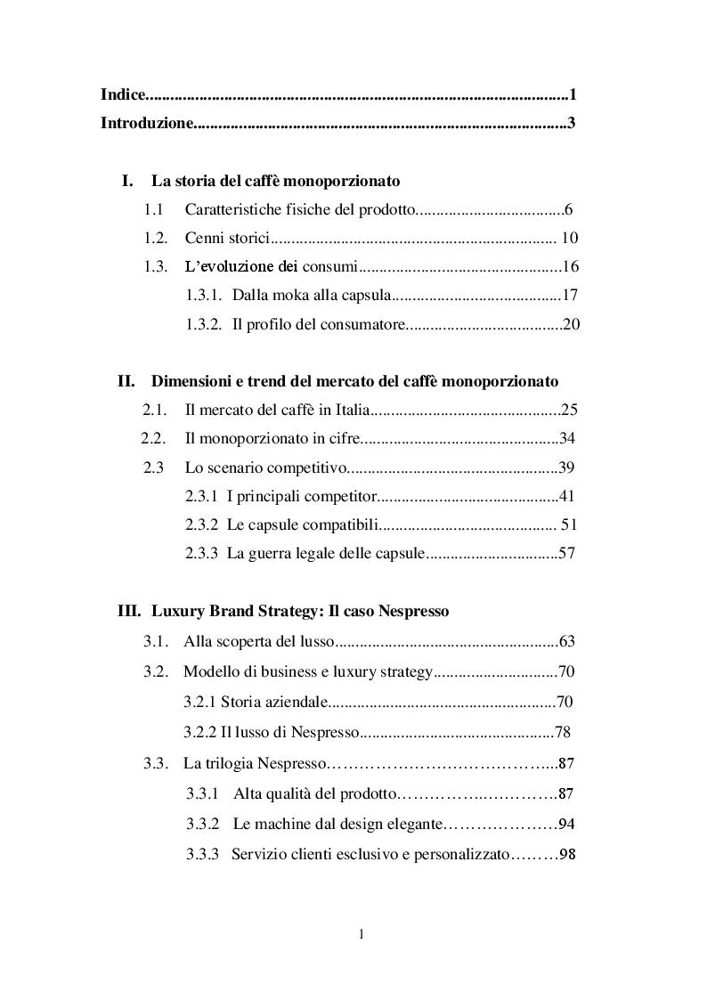 Indice della tesi: La ''guerrilla'' del caffè monoporzione. Il concetto di lusso di Nespresso, Pagina 1