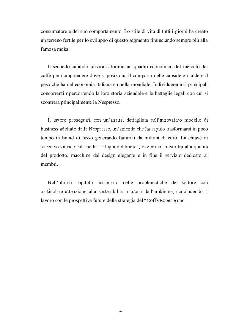 Anteprima della tesi: La ''guerrilla'' del caffè monoporzione. Il concetto di lusso di Nespresso, Pagina 3
