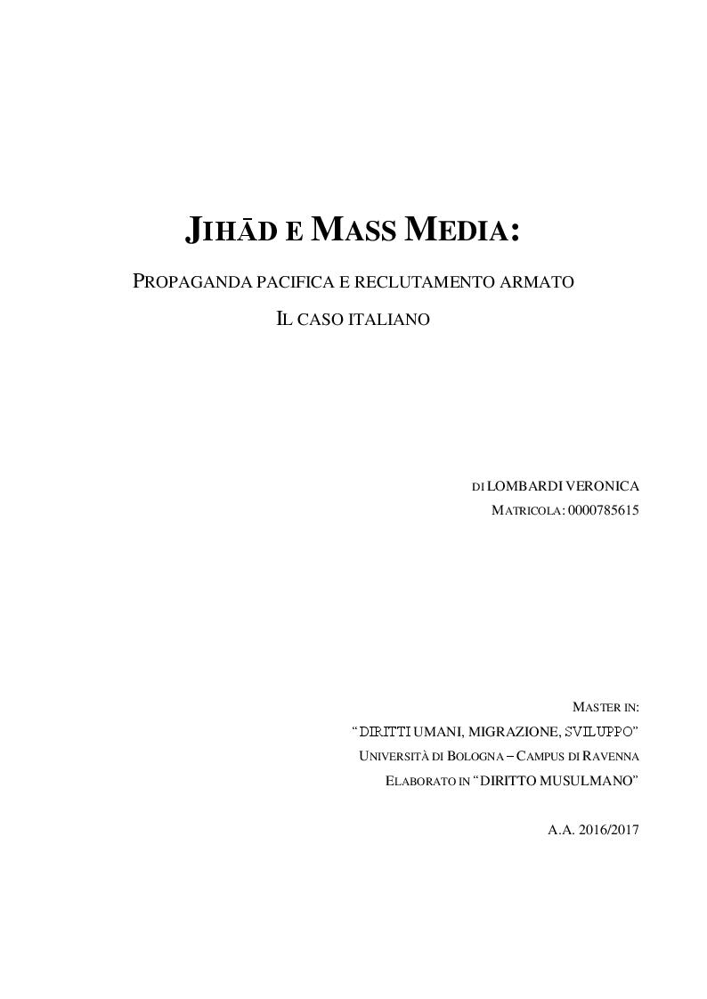 Anteprima della tesi: JIHĀD E MASS MEDIA: propaganda pacifica e reclutamento armato. Il caso italiano, Pagina 1