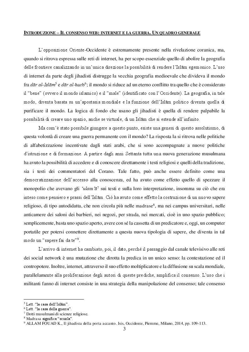 Anteprima della tesi: JIHĀD E MASS MEDIA: propaganda pacifica e reclutamento armato. Il caso italiano, Pagina 3