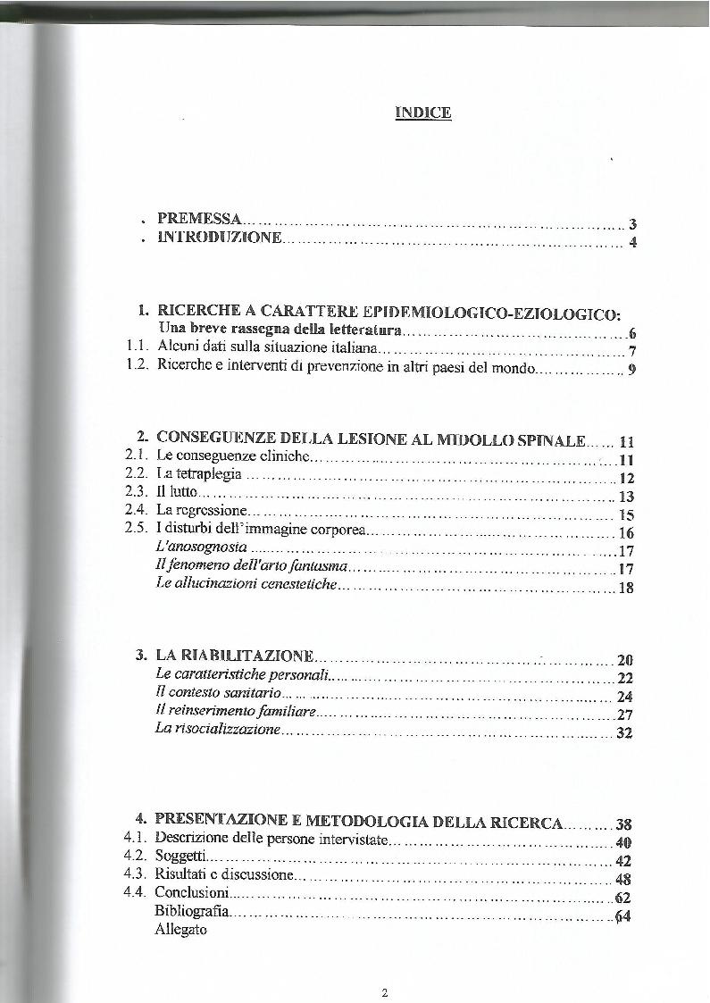 Indice della tesi: La lesione al midollo cervicale: un approccio psicologico-riabilitativo, Pagina 1