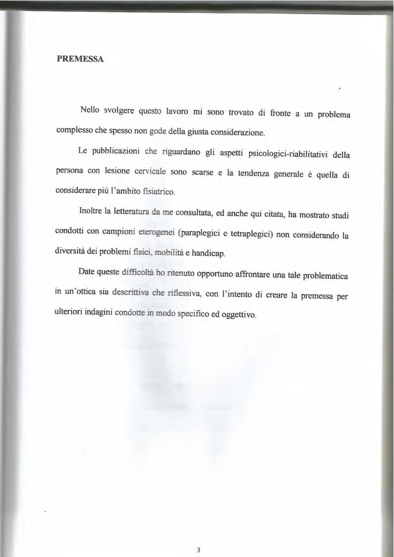 Anteprima della tesi: La lesione al midollo cervicale: un approccio psicologico-riabilitativo, Pagina 2