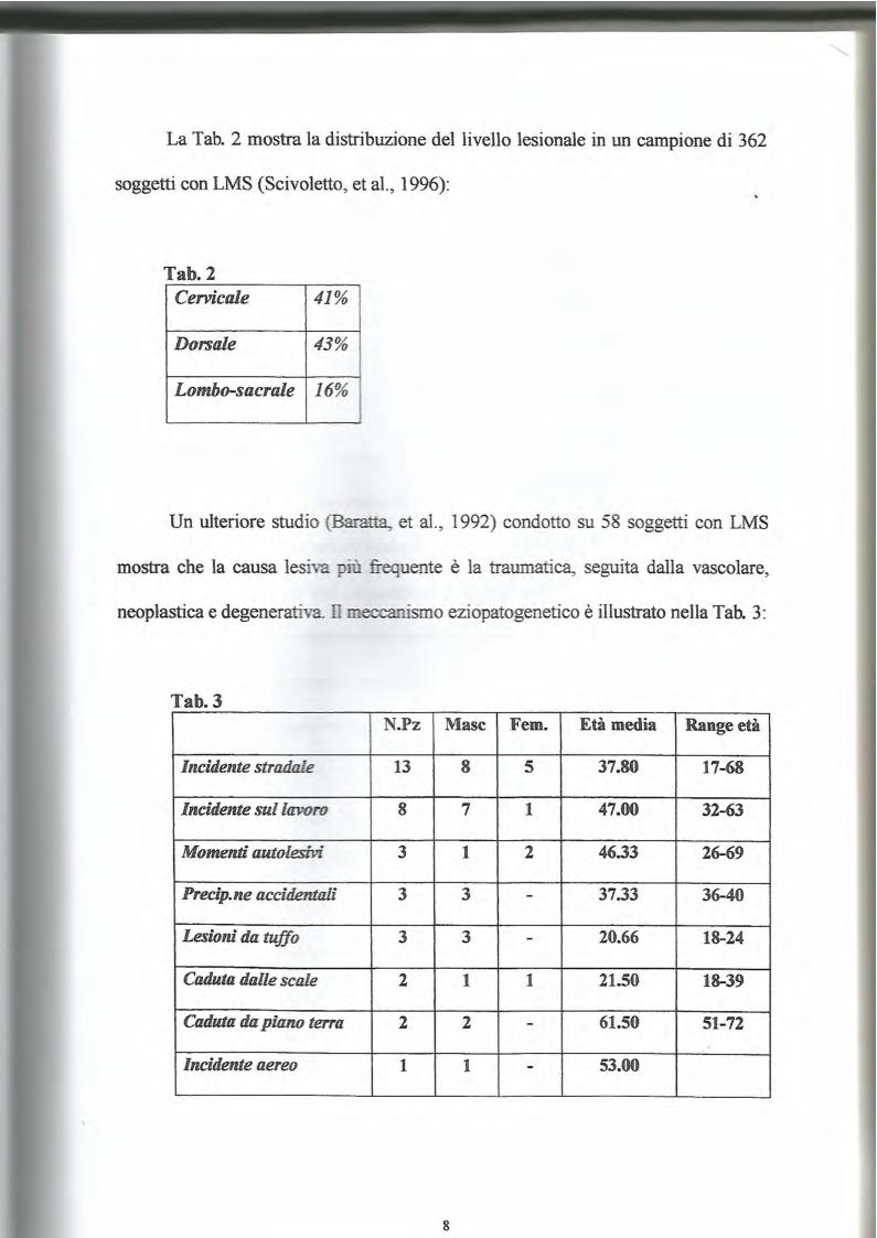 Anteprima della tesi: La lesione al midollo cervicale: un approccio psicologico-riabilitativo, Pagina 7