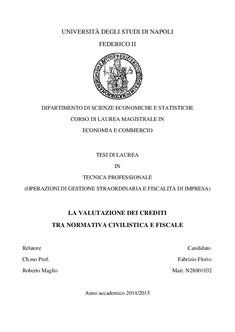 Anteprima della tesi: La valutazione dei crediti tra normativa civilistica e fiscale, Pagina 1