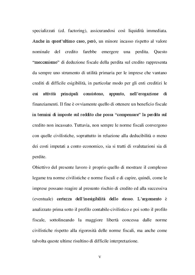 Anteprima della tesi: La valutazione dei crediti tra normativa civilistica e fiscale, Pagina 3