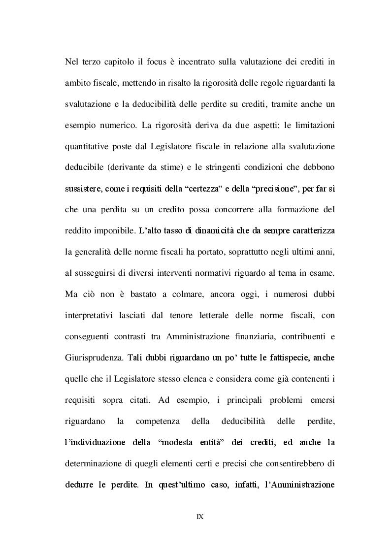 Anteprima della tesi: La valutazione dei crediti tra normativa civilistica e fiscale, Pagina 7