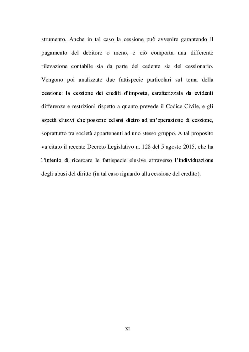 Anteprima della tesi: La valutazione dei crediti tra normativa civilistica e fiscale, Pagina 9