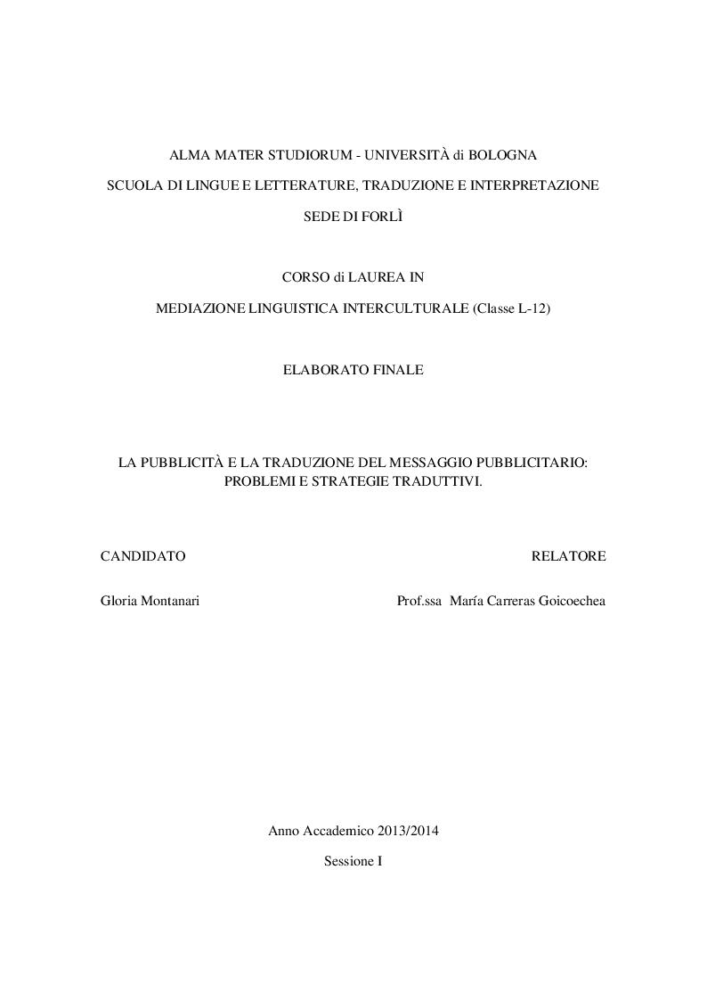 Anteprima della tesi: La pubblicità e la traduzione del messaggio pubblicitario problemi e strategie traduttivi., Pagina 1