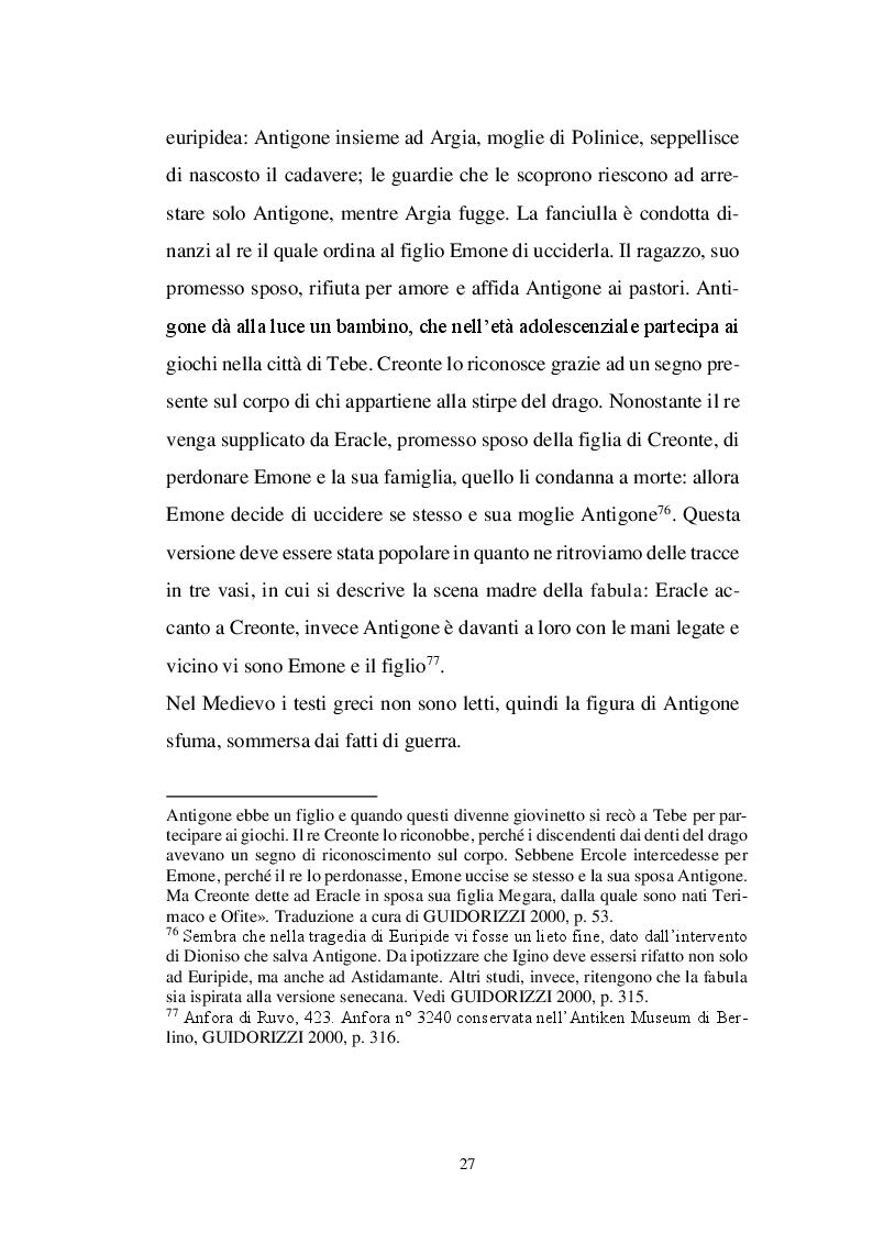 Estratto dalla tesi: Il personaggio di Antigone da Sofocle alla tragedia rinascimentale