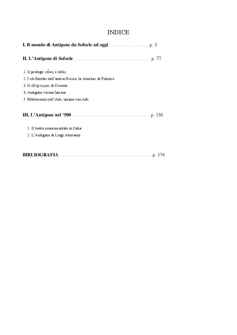 Indice della tesi: Il personaggio di Antigone da Sofocle alla tragedia rinascimentale, Pagina 1
