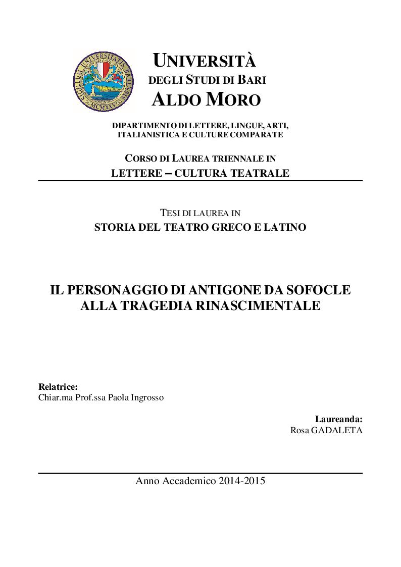 Anteprima della tesi: Il personaggio di Antigone da Sofocle alla tragedia rinascimentale, Pagina 1