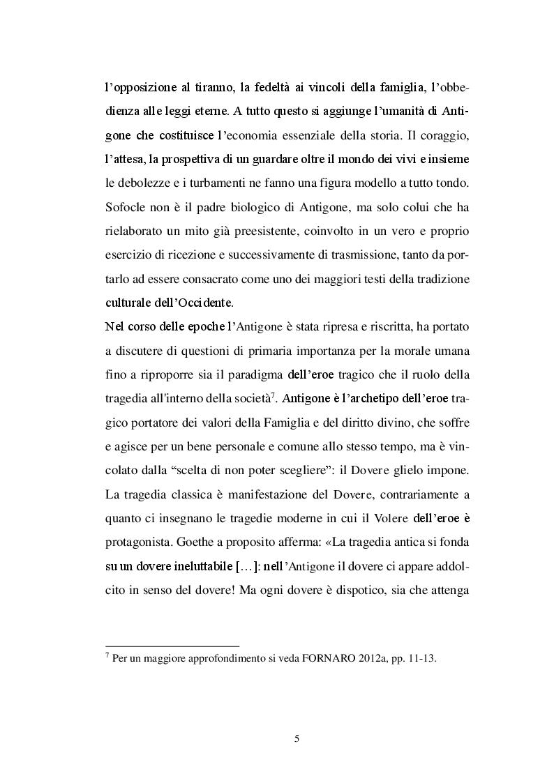 Anteprima della tesi: Il personaggio di Antigone da Sofocle alla tragedia rinascimentale, Pagina 4