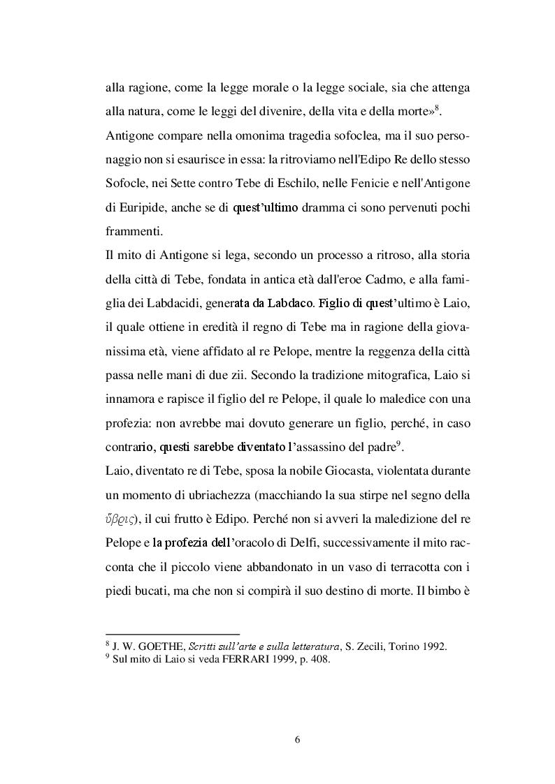 Anteprima della tesi: Il personaggio di Antigone da Sofocle alla tragedia rinascimentale, Pagina 5