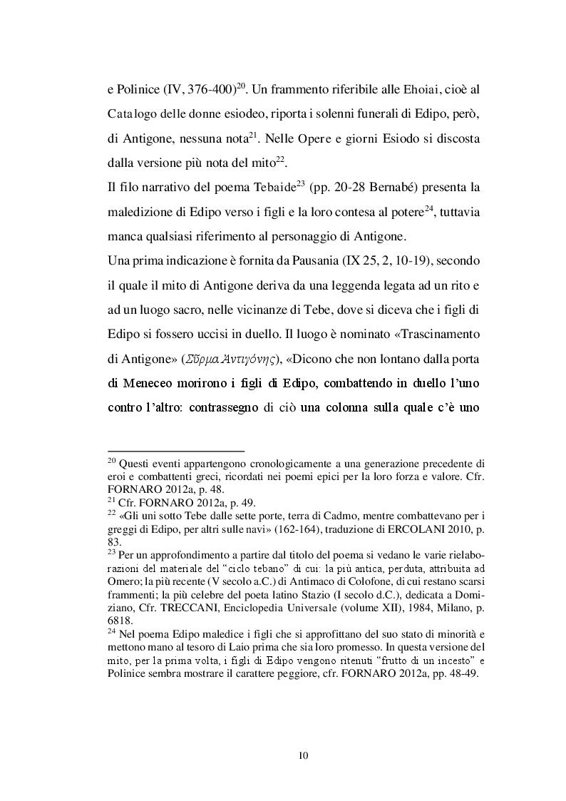 Anteprima della tesi: Il personaggio di Antigone da Sofocle alla tragedia rinascimentale, Pagina 9