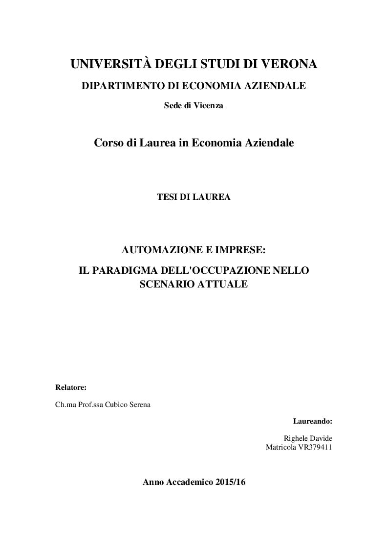 Anteprima della tesi: Automazione e imprese: Il paradigma dell'occupazione nello scenario attuale, Pagina 1