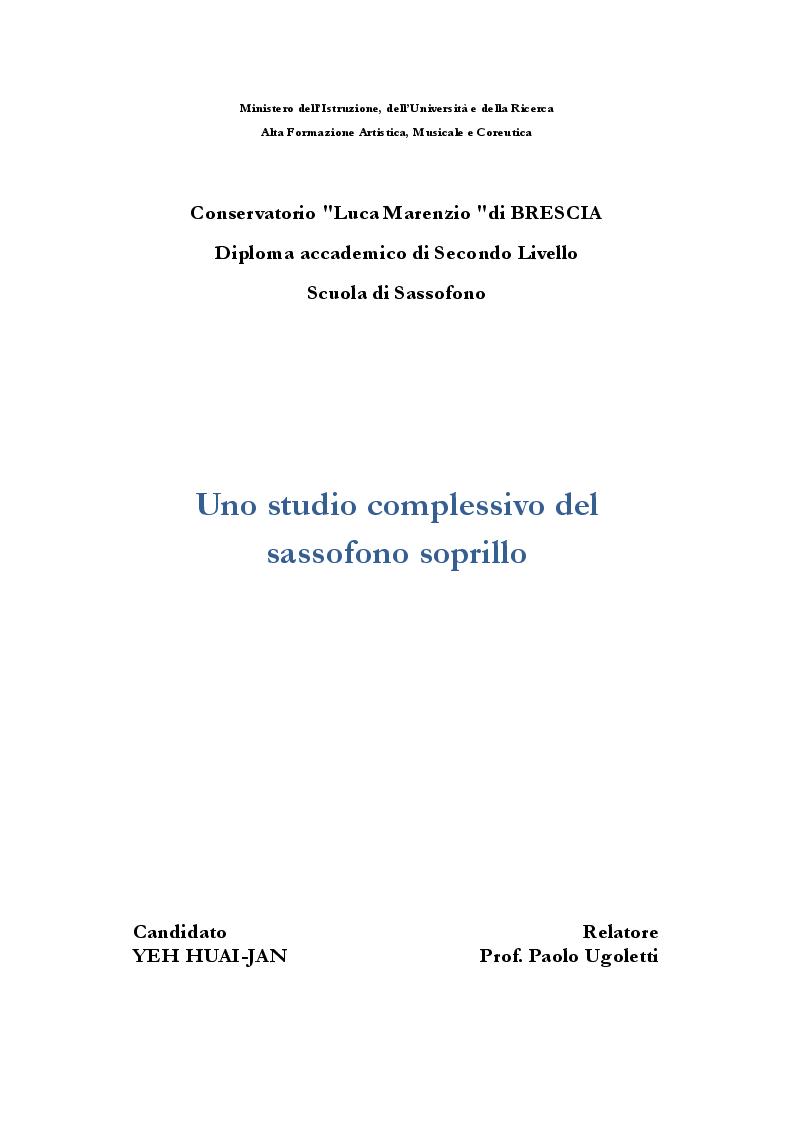 Anteprima della tesi: Uno studio complessivo del sassofono soprillo, Pagina 1
