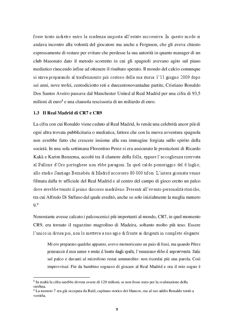 Estratto dalla tesi: Mitologie calcistiche e mediatiche di CR7