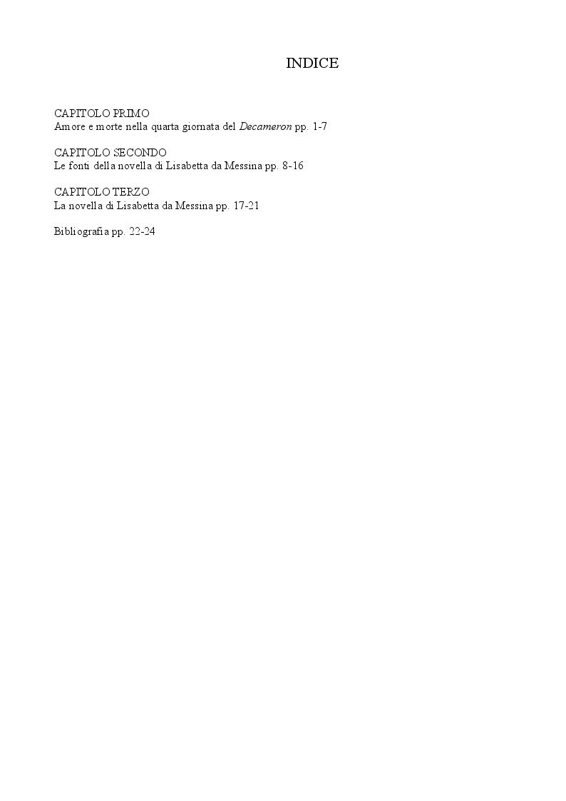Indice della tesi: Amore e morte nella novella di Lisabetta da Messina di Giovanni Boccaccio, Pagina 1