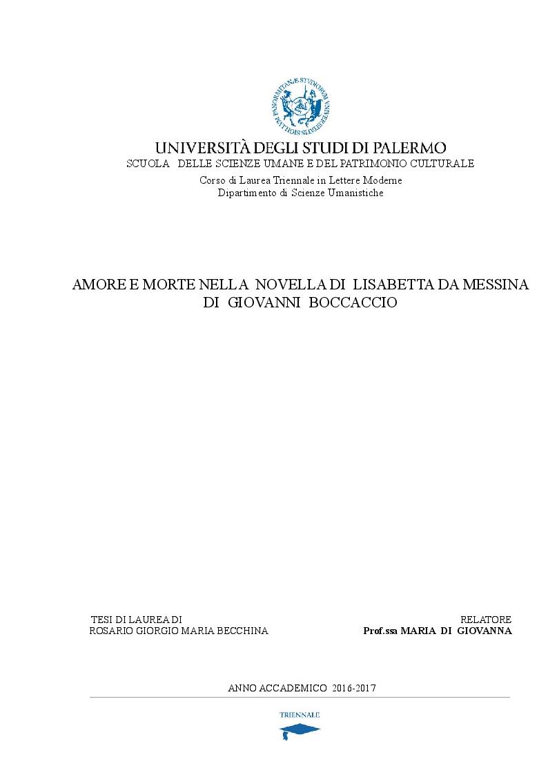Anteprima della tesi: Amore e morte nella novella di Lisabetta da Messina di Giovanni Boccaccio, Pagina 1