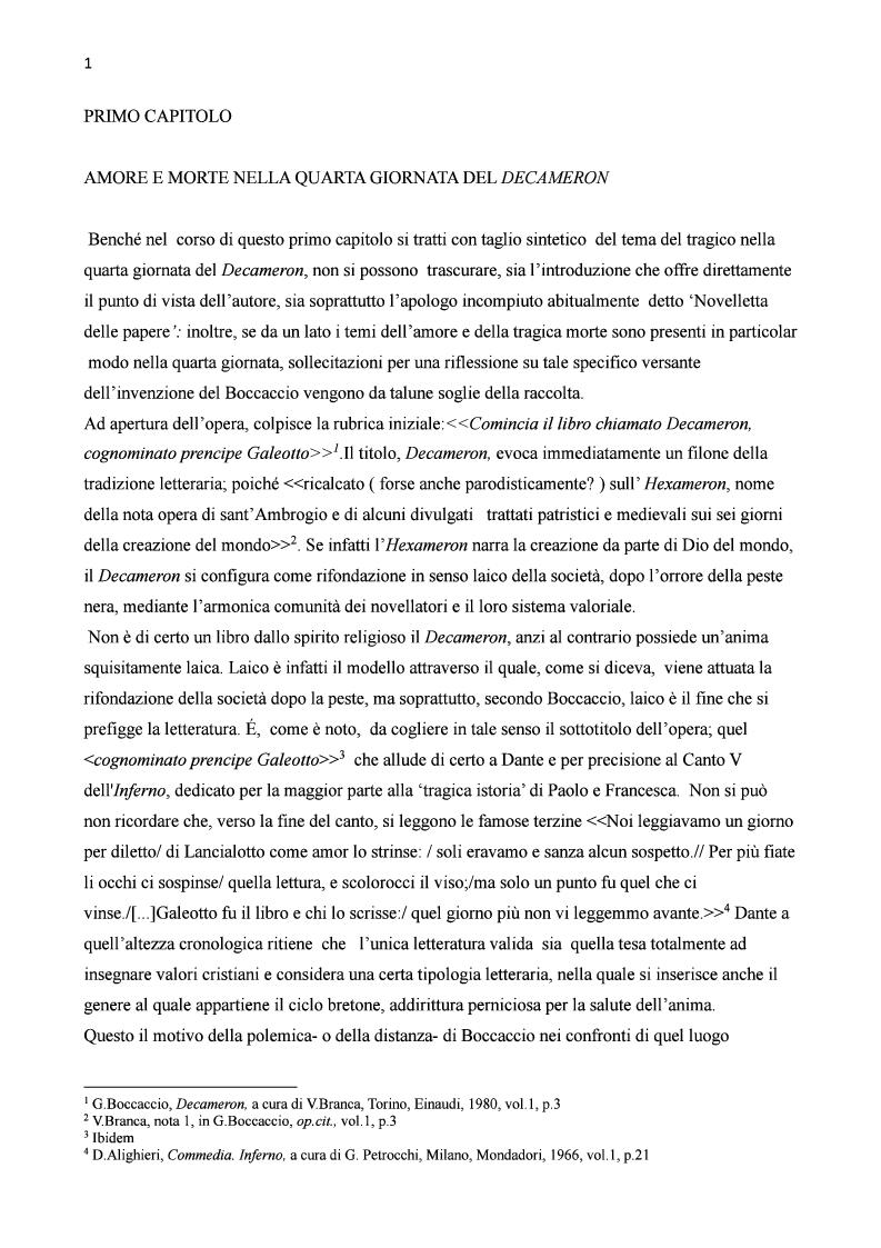 Anteprima della tesi: Amore e morte nella novella di Lisabetta da Messina di Giovanni Boccaccio, Pagina 2