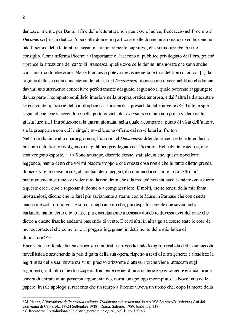 Anteprima della tesi: Amore e morte nella novella di Lisabetta da Messina di Giovanni Boccaccio, Pagina 3