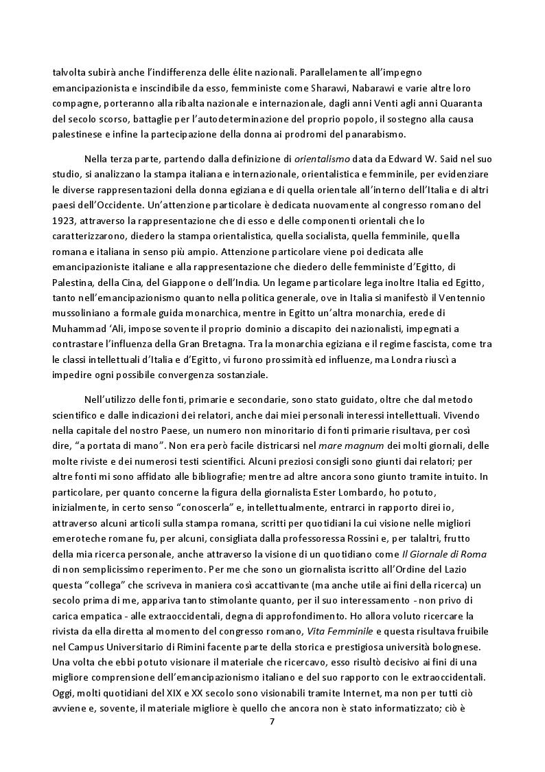 Anteprima della tesi: Hoda Sharawi e il movimento internazionale delle donne (1919-1947), Pagina 4