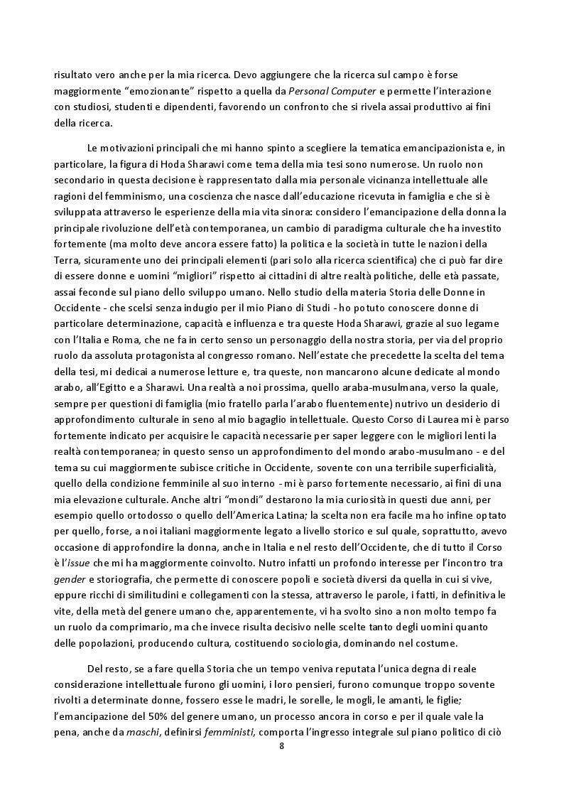 Anteprima della tesi: Hoda Sharawi e il movimento internazionale delle donne (1919-1947), Pagina 5