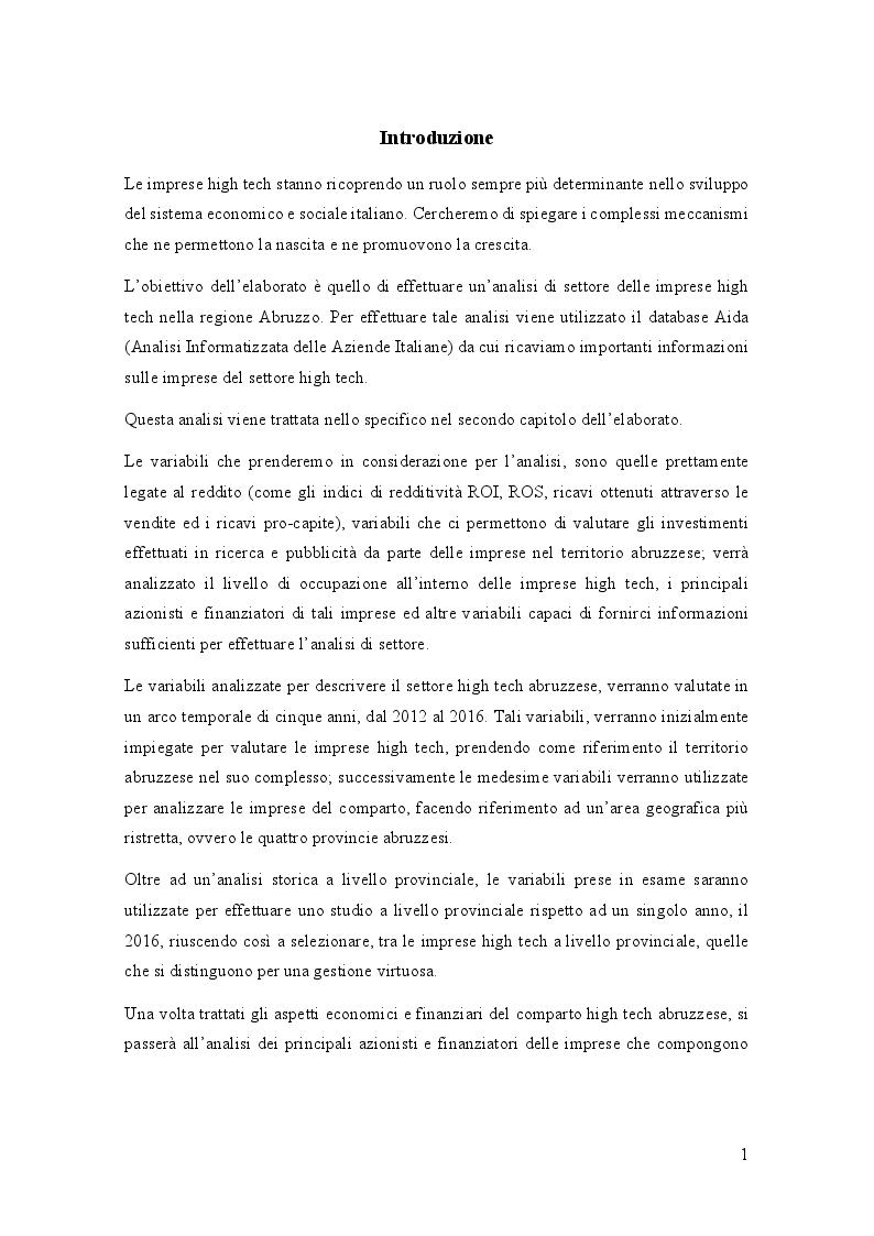 Anteprima della tesi: Analisi di settore del comparto High Tech in Abruzzo, Pagina 2