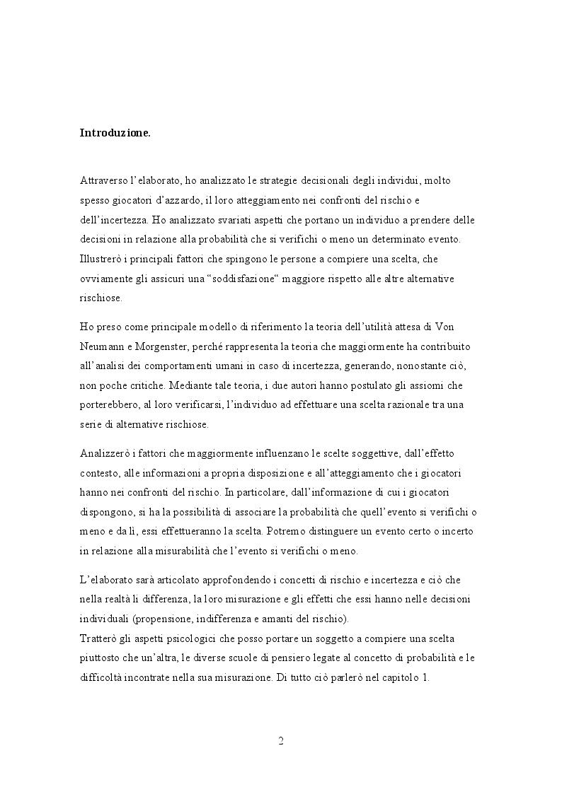 Anteprima della tesi: L'analisi dell'incertezza mediante lo studio della teoria dell'utilità attesa di Von Neumann e Morgenstern, Pagina 2