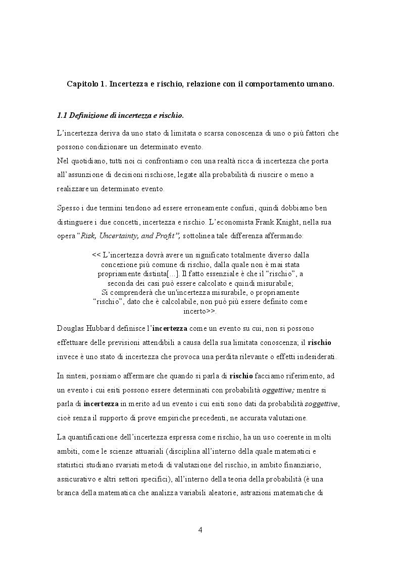 Anteprima della tesi: L'analisi dell'incertezza mediante lo studio della teoria dell'utilità attesa di Von Neumann e Morgenstern, Pagina 4