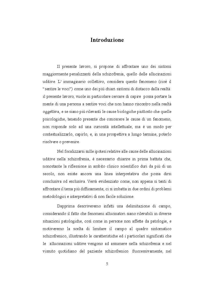 Anteprima della tesi: Le allucinazioni uditive nella schizofrenia: ipotesi biologiche ed ipotesi psicologiche a confronto, Pagina 2
