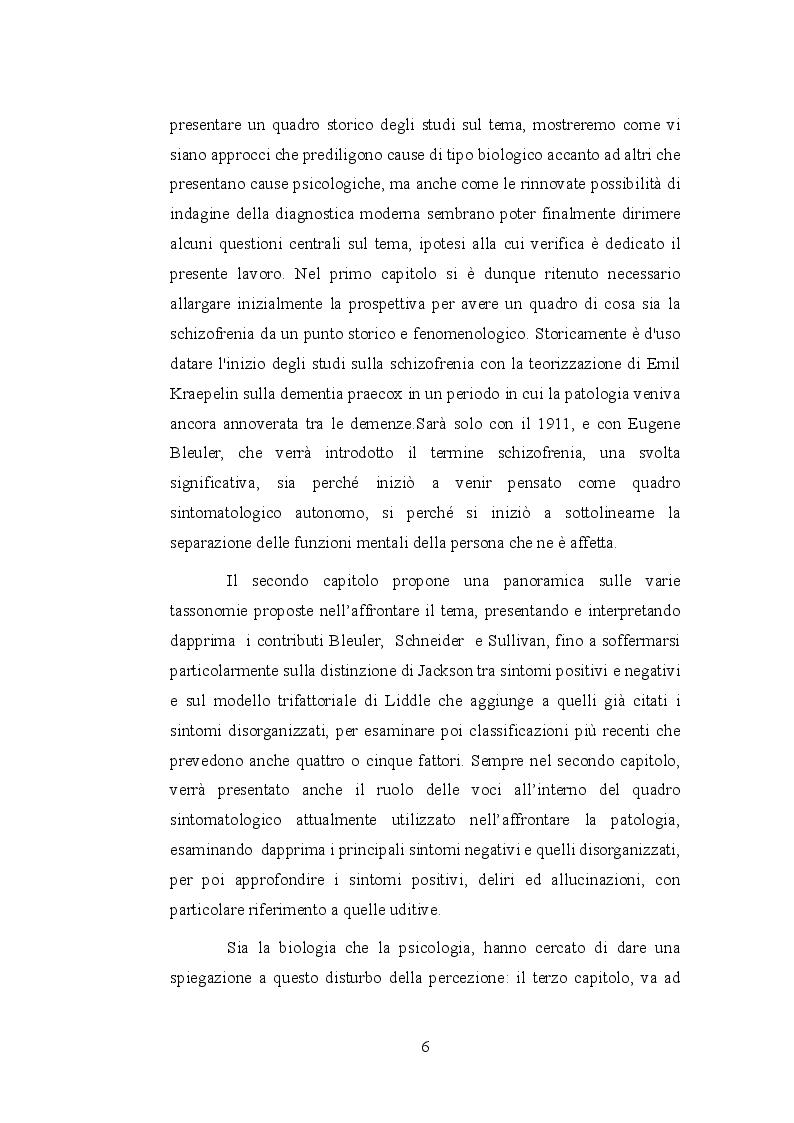 Anteprima della tesi: Le allucinazioni uditive nella schizofrenia: ipotesi biologiche ed ipotesi psicologiche a confronto, Pagina 3