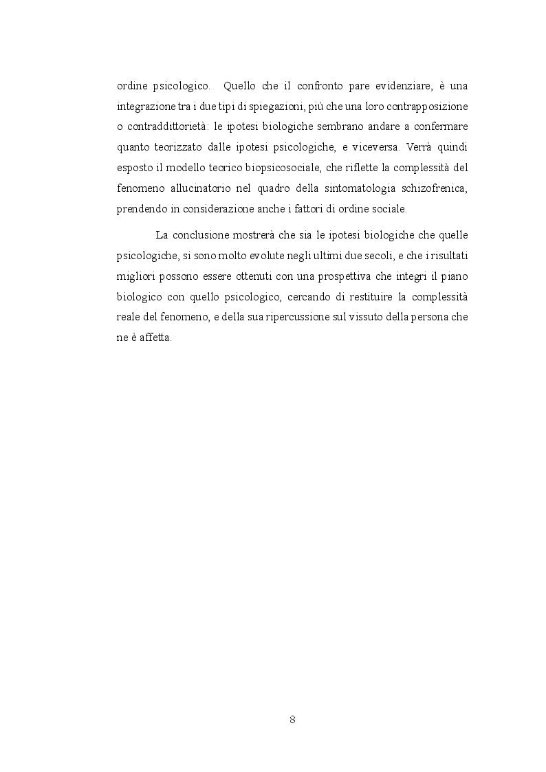 Anteprima della tesi: Le allucinazioni uditive nella schizofrenia: ipotesi biologiche ed ipotesi psicologiche a confronto, Pagina 5