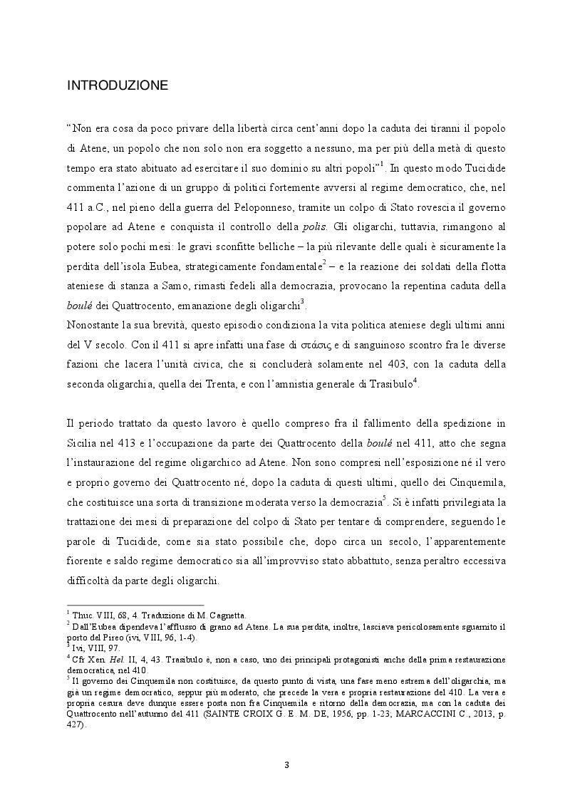 Anteprima della tesi: Il colpo di Stato dei Quattrocento ad Atene. Metodi di attuazione e aspetti istituzionali, Pagina 2