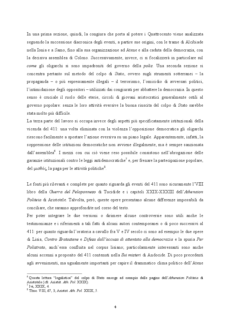Anteprima della tesi: Il colpo di Stato dei Quattrocento ad Atene. Metodi di attuazione e aspetti istituzionali, Pagina 3