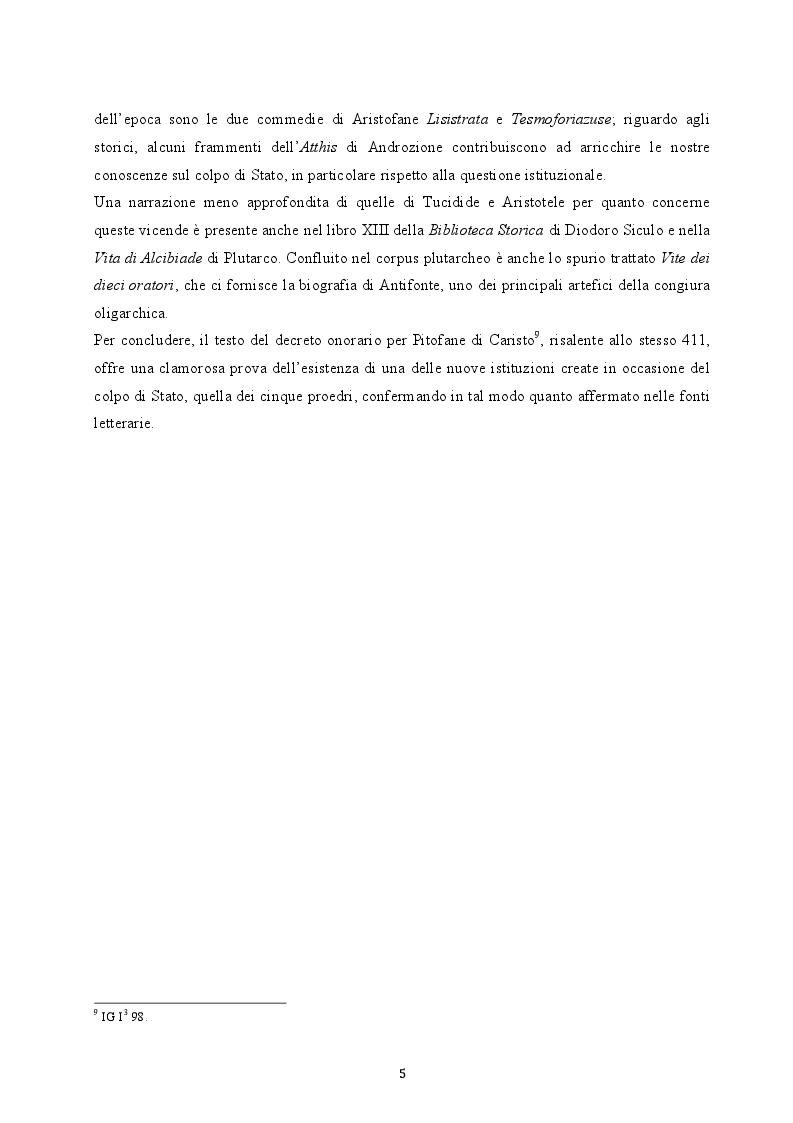 Anteprima della tesi: Il colpo di Stato dei Quattrocento ad Atene. Metodi di attuazione e aspetti istituzionali, Pagina 4