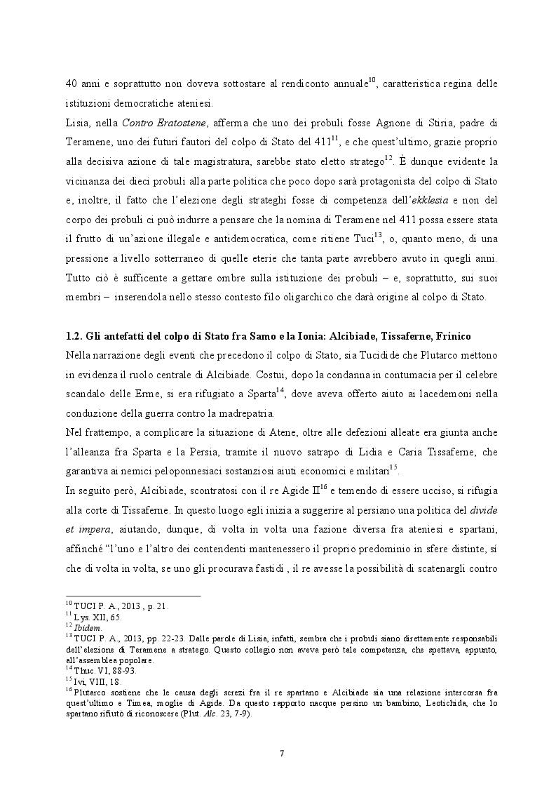 Anteprima della tesi: Il colpo di Stato dei Quattrocento ad Atene. Metodi di attuazione e aspetti istituzionali, Pagina 6