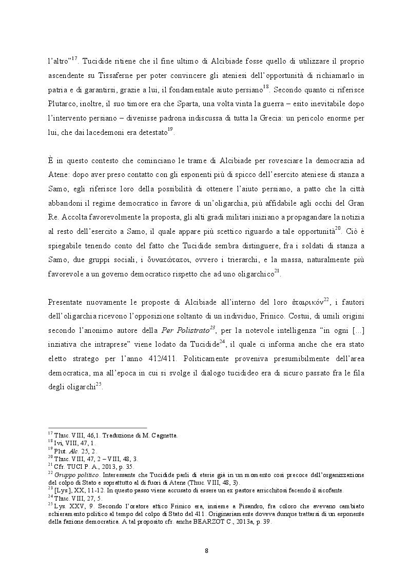 Anteprima della tesi: Il colpo di Stato dei Quattrocento ad Atene. Metodi di attuazione e aspetti istituzionali, Pagina 7