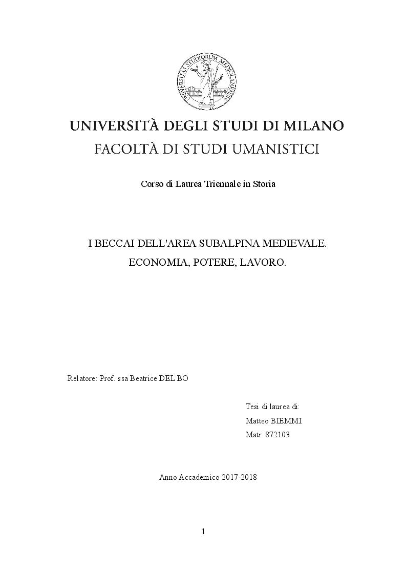 Anteprima della tesi: I beccai dell'area subalpina medievale. Economia, potere lavoro., Pagina 1