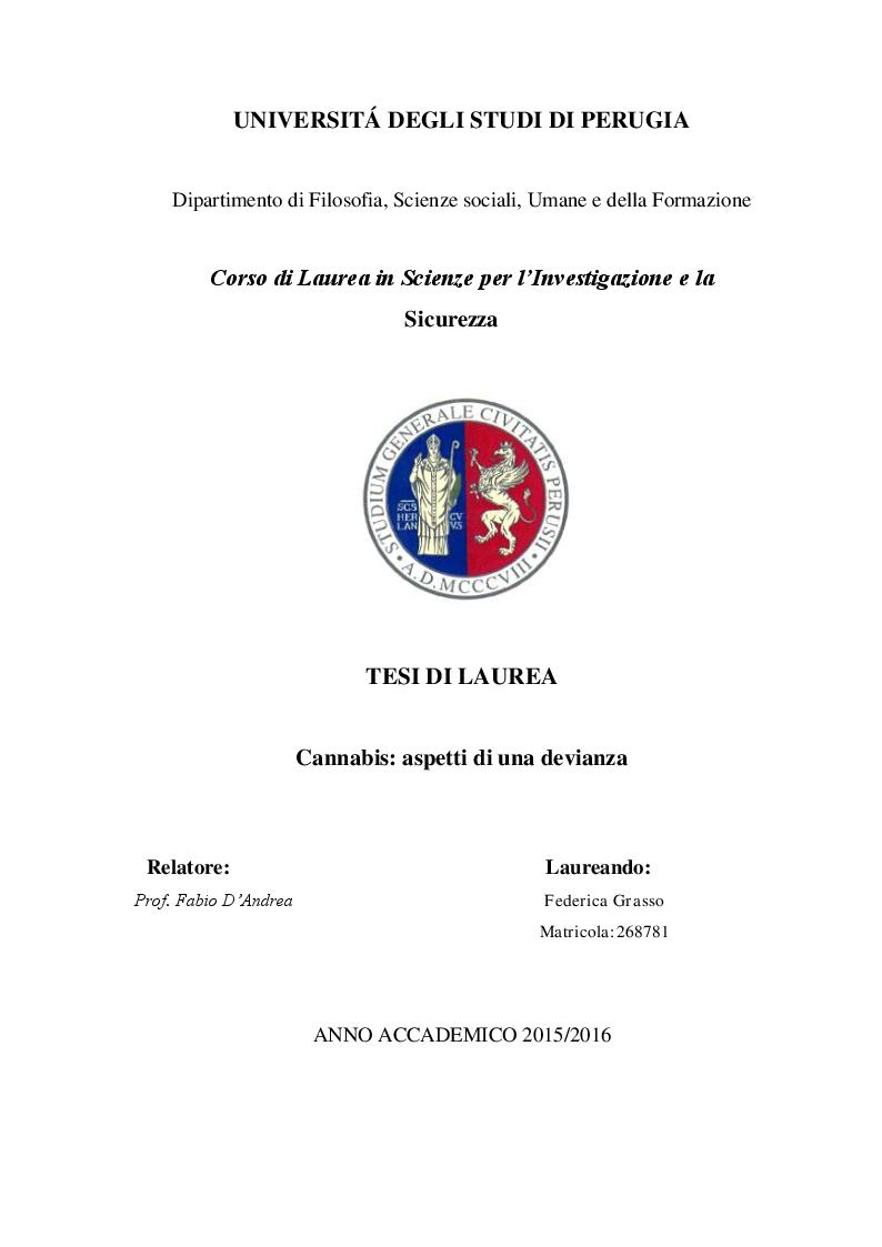 Anteprima della tesi: Cannabis. Aspetti di una devianza., Pagina 1