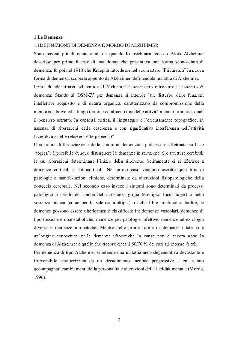 Anteprima della tesi: La stimolazione cognitiva nella malattia di Alzheimer: descrizione di una esperienza, Pagina 2