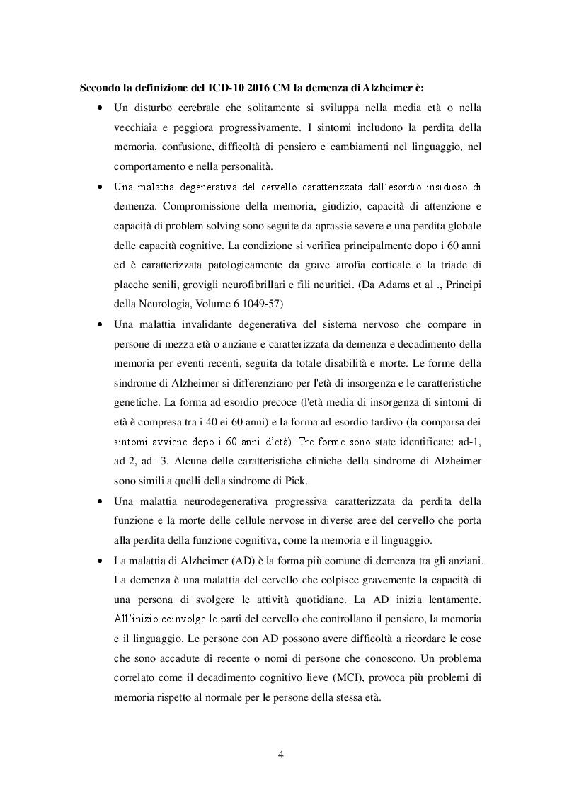 Anteprima della tesi: La stimolazione cognitiva nella malattia di Alzheimer: descrizione di una esperienza, Pagina 3