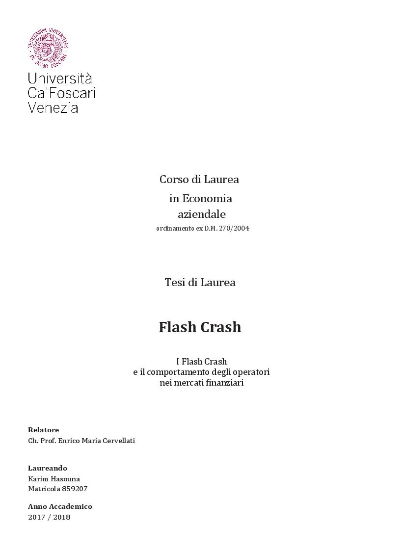 Anteprima della tesi: I Flash Crash e il comportamento degli operatori nei mercati finanziari, Pagina 1