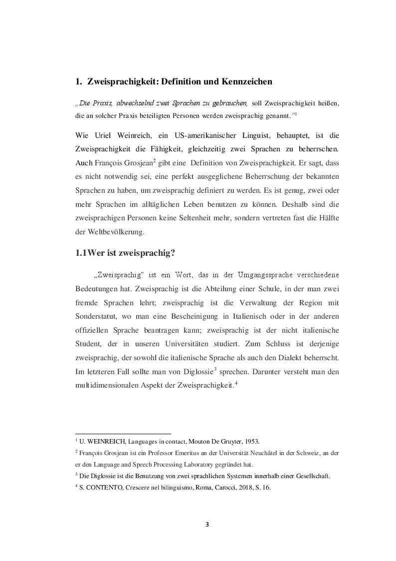 Anteprima della tesi: Die Zweisprachigkeit: Eine Ressource in der frühen Kindheit, Pagina 2